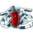 Strange graffiti image with can — Stock Vector