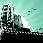 Urban design. Dirty grunge technique. EPS 8 vector illustration. — Stock Vector #20136017