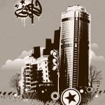 Urban design. Dirty grunge technique. EPS 8 vector illustration. — Stock Vector #20136089