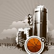 Urban design.Basketball . Dirty grunge technique. — Stock Vector