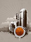 城市 design.basketball。脏 grunge 技术. — 图库矢量图片