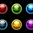 Set of glass buttons on a black background — Stock Vector
