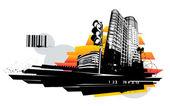 Urban design. Dirty grunge technique. EPS 8 vector illustration. — Stock Vector