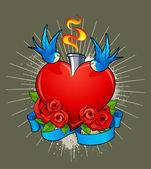 Tatuaggio illustrazione con cuore, rose e rondini — Vettoriale Stock
