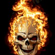 Gold skull icon. fire ornament tattoo - Stock Vector