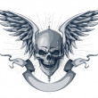 Skull with wings, ribbon and place for your text - Imagens vectoriais em stock