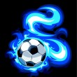 Burning soccer ball. Vector illustration. - Stock Vector