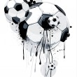 Soccer balls on dirty background. Abstract grunge style. EPS 10 vector illustration. — Stock Vector