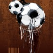 Soccer ball on dirty background. Abstract grunge style. EPS 10 vector illustration. — Imagens vectoriais em stock