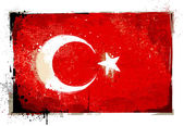 Grungy turkish flag. EPS 8 vector illustration. — Stock Vector