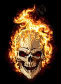 Icône de crâne or. tatouage ornement de feu — Vecteur