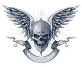 Skull with wings, ribbon and place for your text — Stockvector