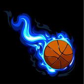 Burning basketball. Vector illustration. — Stock Vector