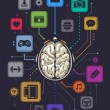 Brain activity infographics illustration. Vector illustration. - Imagens vectoriais em stock