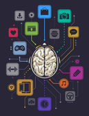 Brain activity infographics illustration. Vector illustration. — Stock Vector