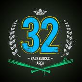 Grunge gang design. Number 32 — Stock Vector