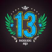 Grunge gang design. Number 13 — Stock Vector