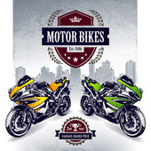 Two sport bikes on city background — Stock Vector