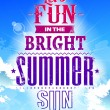 Summer typography on blue sky — Stock Vector
