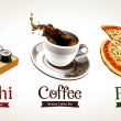 Sushi, coffee and pizza isolated on white — Stock Vector
