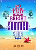 летом ретро плакат — Cтоковый вектор