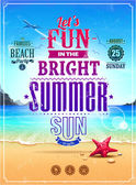 Summer retro poster — Vector de stock