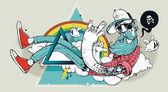 Hipster graffiti abstracto — Vector de stock