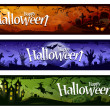 Cartoon halloween banners — Vector de stock