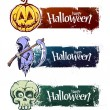 Hand-drawn halloween banners — Stock Vector