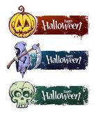 Hand-drawn halloween banners — Stock Vector