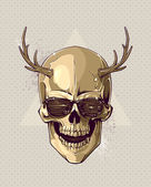 Hipster gold skull with horns — Stock Vector