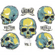 Grunge skulls vector set — Stock Vector #39216355