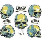 Grunge skulls vector set — Stock Vector #39216355