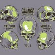 Grunge skulls vector set — Stock Vector