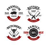 Butcher Shop Emblems — Vettoriale Stock