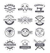 Crafts Emblems Vector Set — Stock Vector