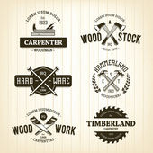 Vintage Carpentry Emblems — Stock Vector