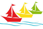 Colorful sailing boats — Stock Vector