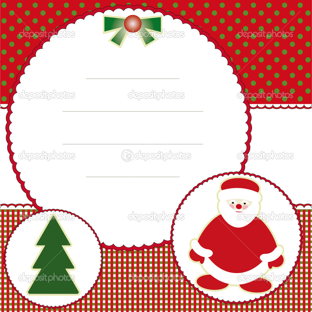 Christmas and new years card with tree and santa claus  Stock Vector #13820234