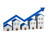 Growing chart over houses 3d — Stock Photo