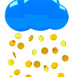 Raining gold coins with cloud. - Stock Photo