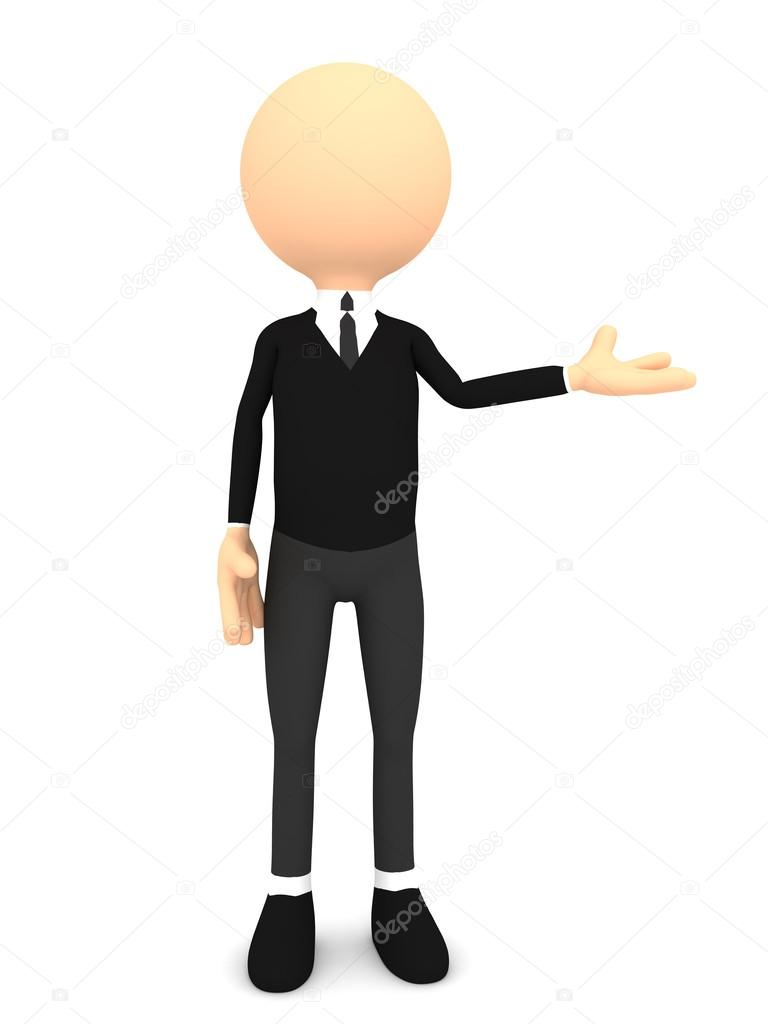 3d - man, person presenting - pointing.  Stock Photo #13320703