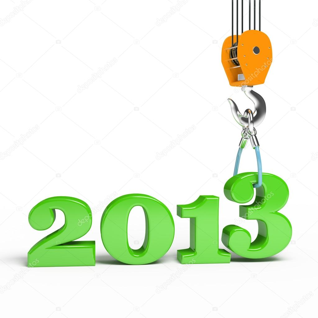 Building a hook puts the figure three. 3d illustration of New Year 2013 — Stock Photo #14137749
