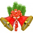 Christmas bells with christmas tree - Stock Photo