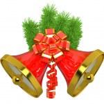 Christmas bells with christmas tree — Stock Photo