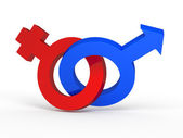 3d femal and male sign on white background — Stock Photo