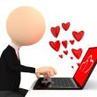 Render of chating person with laptop — Stock Photo