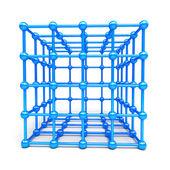 3D Cube and corner spheres — Stock Photo