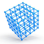 3D Cube and corner spheres — Stock Photo