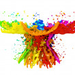 colorful paint splashing isolated on white — Stock Photo